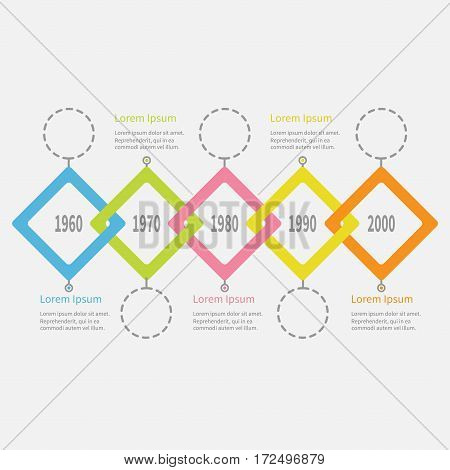 Five step Timeline Infographic. Dash line round circle. Colorful big rhombus square segment. Template. Flat design. White background. Isolated. Vector illustration