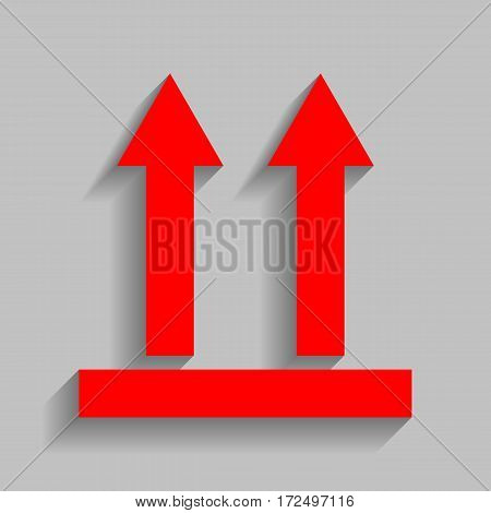 Logistic sign of arrows. Vector. Red icon with soft shadow on gray background.