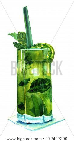 A watercolor drawing of a mojito cocktail with mint leaves, a wedge of lime, and a drinking straw, isolated on white background