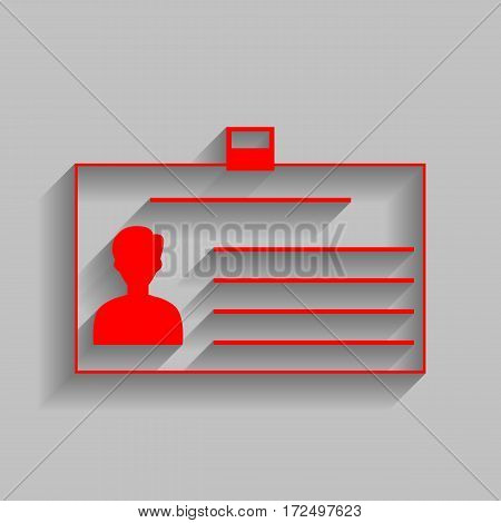 Identification card sign. Vector. Red icon with soft shadow on gray background.