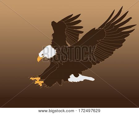 Bald Eagle Attack Graphic Isolated on Background