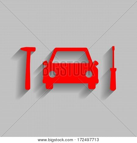 Car tire repair service sign. Vector. Red icon with soft shadow on gray background.