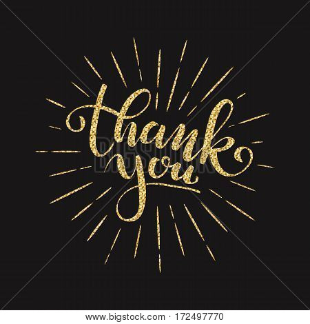Thank you lettering for greeting card. Golden glitter effect isolated on black background. Vector illustration