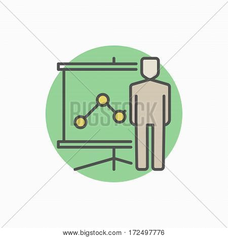 Man with presentation icon. Vector minimal seminar and learning colorful flat symbol or sign