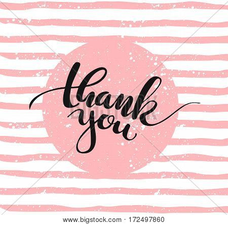 Thank you lettering for greeting card. Vector illustration