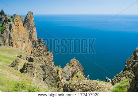 Majestic Karadag - volcanic mountain range Eastern Crimea on a Black Sea shore.