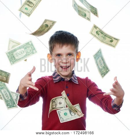 Beautiful Little Boy And Flying Dollar Bills Isolated