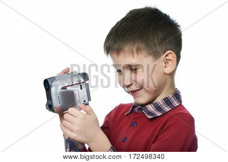 Little Boy With Video Camera Isolated