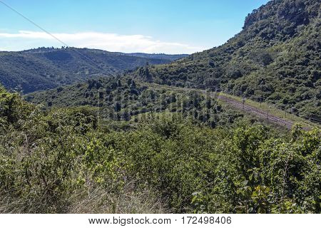 Rural Railway Track Running Through Hills And Valleys