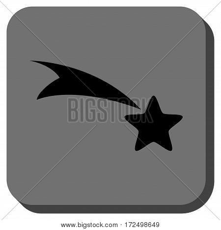 Falling Star interface button. Vector pictogram style is a flat symbol on a rounded square button black and gray colors.