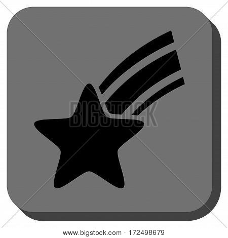 Falling Star rounded icon. Vector pictograph style is a flat symbol in a rounded square button black and gray colors.