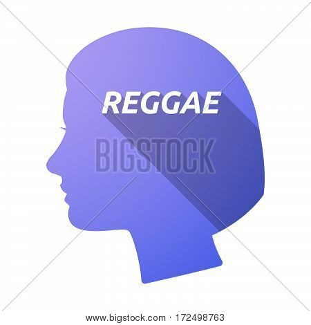 Isolated Female Head With    The Text Reggae
