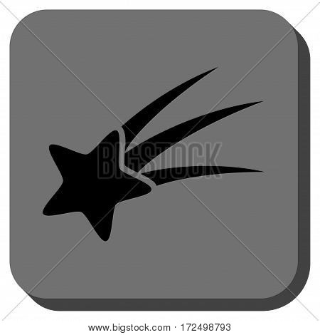 Falling Star interface toolbar button. Vector pictogram style is a flat symbol on a rounded square button black and gray colors.