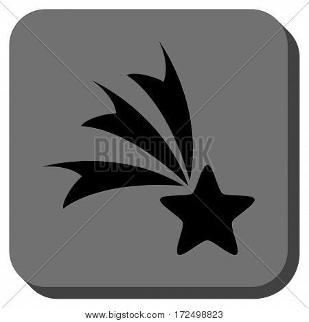 Falling Star interface toolbar button. Vector pictograph style is a flat symbol inside a rounded square button black and gray colors.