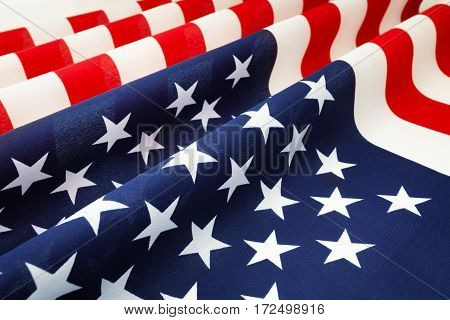 Close-up picture of stars and stripes United States of America pleated bunting