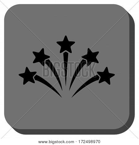 Fireworks Burst rounded icon. Vector pictogram style is a flat symbol inside a rounded square button black and gray colors.