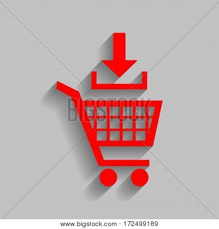 Add to Shopping cart sign. Vector. Red icon with soft shadow on gray background.