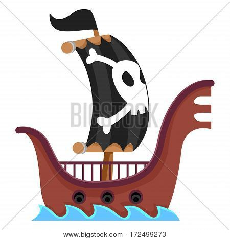 Vector Illustration of Pirate Ship Sailing in the Sea