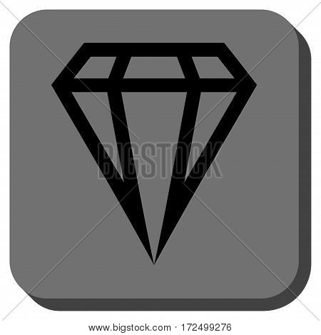 Gem square button. Vector pictograph style is a flat symbol on a rounded square button black and gray colors.