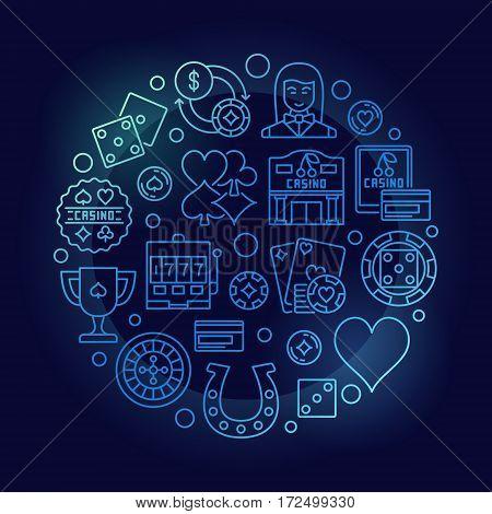 Blue casino line illustration. Circular creative gambling outline symbol