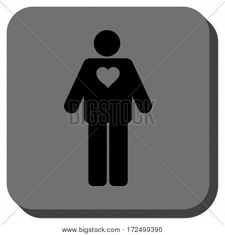 Groom interface button. Vector pictograph style is a flat symbol centered in a rounded square button black and gray colors.