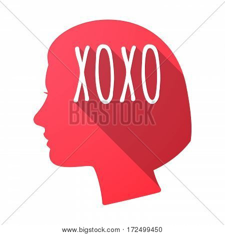 Isolated Female Head With    The Text Xoxo