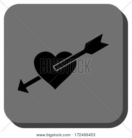 Heart Arrow interface toolbar icon. Vector pictogram style is a flat symbol in a rounded square button black and gray colors.