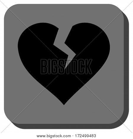 Heart Break interface icon. Vector pictogram style is a flat symbol in a rounded square button black and gray colors.