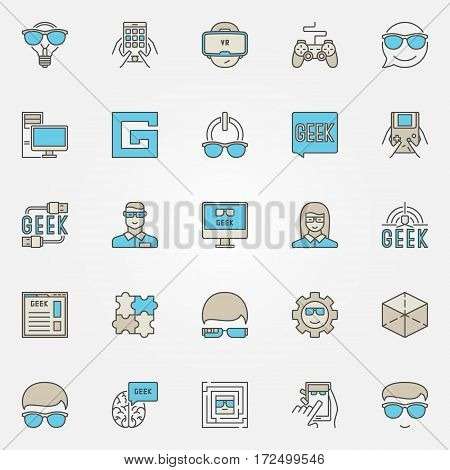 Colorful geek icons set. Vector modern nerd signs and geek people concept symbols or logo elements for your design