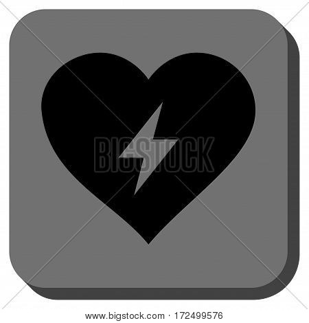 Heart Power interface icon. Vector pictograph style is a flat symbol centered in a rounded square button black and gray colors.