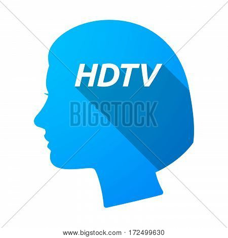 Isolated Female Head With    The Text Hdtv