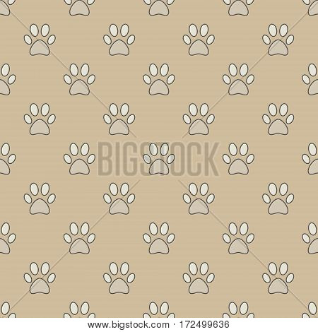 Colorful vector seamless pattern with paw footprints