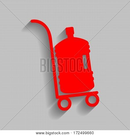 Plastic bottle silhouette with water. Big bottle of water on track. Vector. Red icon with soft shadow on gray background.