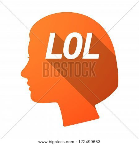 Isolated Female Head With    The Text Lol