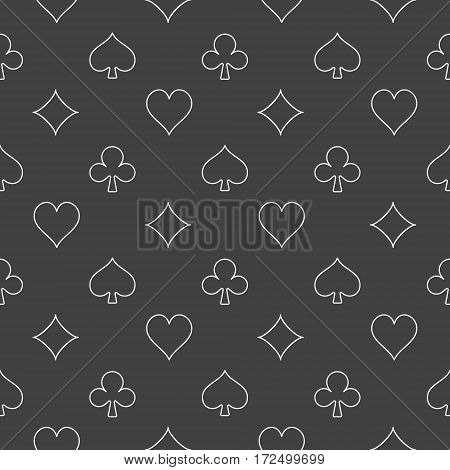 Dark card suits pattern. Vector minimal gambling seamless texture. Casino or poker background
