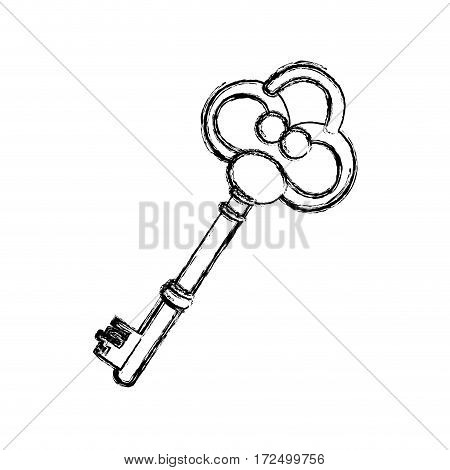 contour old key icon stock, vector illustration image design