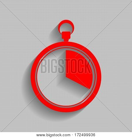 The 20 seconds, minutes stopwatch sign. Vector. Red icon with soft shadow on gray background.
