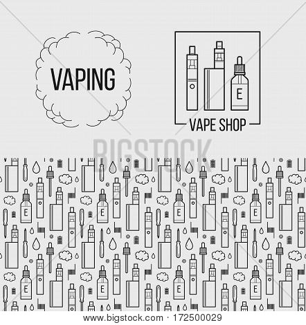 Vector illustration of vape and accessories for vape shop e-cigarette store. Vape icons set Isolated on white background