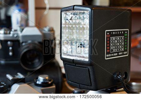 The retro external photo flash a closeup