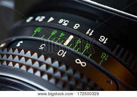 The retro photo camera lens a closeup