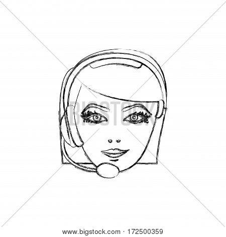 contour face woman technological services icon, vector illustration design