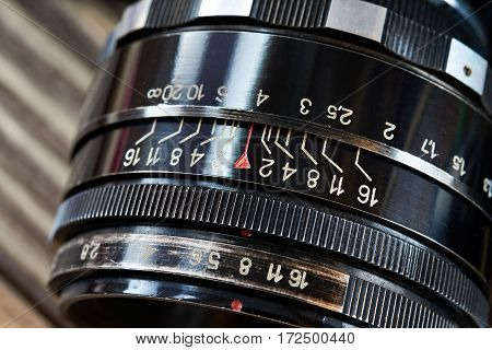 The retro photo slr camera lens closeup