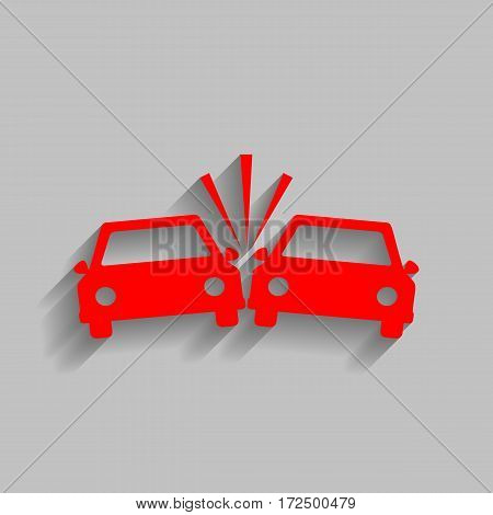 Crashed Cars sign. Vector. Red icon with soft shadow on gray background.