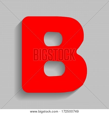 Letter B sign design template element. Vector. Red icon with soft shadow on gray background.