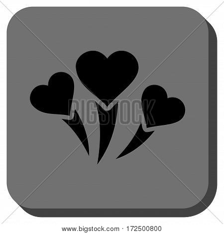 Love Heart Fireworks square button. Vector pictograph style is a flat symbol in a rounded square button black and gray colors.