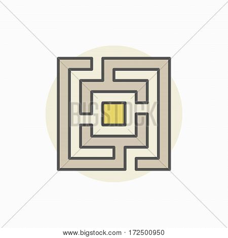 Square maze or labyrinth colorful icon - vector creative symbol