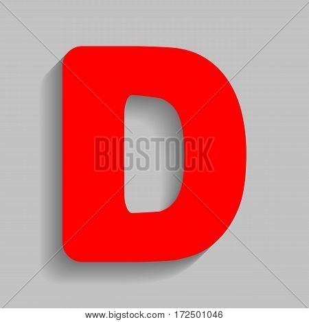 Letter D sign design template element. Vector. Red icon with soft shadow on gray background.