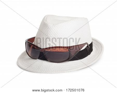 Sunglasses And A White Summer Hat On An Isolated Background
