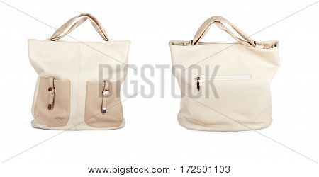 Set The Elegant Ladies Beige Handbag Isolated