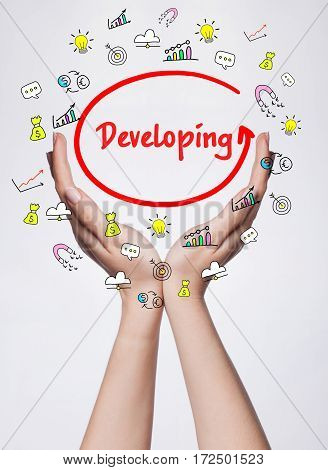 Technology, Internet, Business And Marketing. Young Business Woman Writing Word: Developing